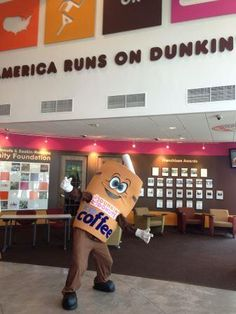 Dunkin' Cuppy hanging out at the DD Mothership! Gotta love knowing the man behind the suit!