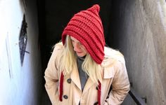 Women crochet pixie hat with cords bonnet chunky hood in burgundy winter fashion, Leto Hat with cords by polixeni19 on Etsy https://www.etsy.com/listing/165275379/women-crochet-pixie-hat-with-cords