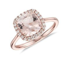 Blue Nile Morganite and Diamond Halo Cushion Ring