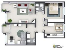 great example comparison of a one room 2d floor plan & also 3d, Hause deko