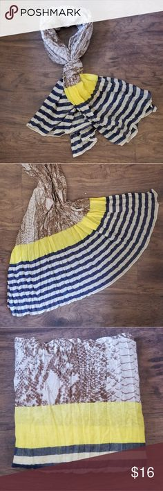 """Lightweight fashion scarf yellow blue stripe Ann Taylor Loft lightweight scarf.  Beige snakeskin design across with yellow block and blue stripes on both ends.  Approx 68"""" long and 42"""" wide LOFT Accessories Scarves & Wraps"""