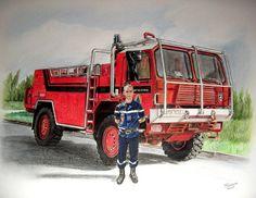 dessin crayon de couleur d'un camion de pompier + personnage Trucks, Photos, Garage Organization, Persona, Drawings, Pictures, Truck