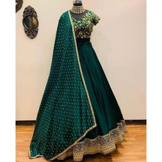 Green designer embroidered wedding lehenga choli - Fabric :tapeta satin silk lehnga with zari embroidery work ( meter flair )tapeta satin Blouse with zari embroidery work ( unstich )moss Georget duppata with 4 side border workIN LEHENGA ( SEMI Green Lehenga, Indian Lehenga, Silk Lehenga, Ghagra Choli, Lehenga Style, Anarkali, Indian Wedding Outfits, Bridal Outfits, Indian Outfits