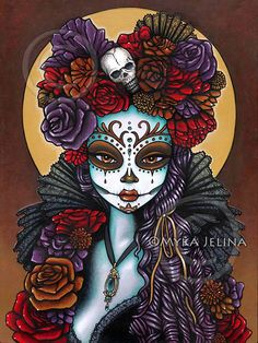 Dalia Dia De Muertos Calaca Flowers Signed Print by MykaJelina