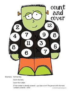 4 Halloween Count and Cover Math Game - FREEBIE!