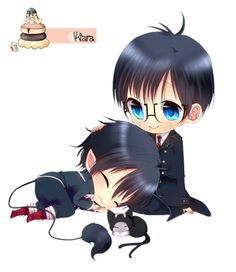 Blue Exorcist chibi Yukio,Rin et Kuro Anime Chibi, Kawaii Chibi, Kawaii Anime, Anime Manga, Anime Art, Ao No Exorcist, Blue Exorcist Anime, Rin Okumura, Cute Anime Pics