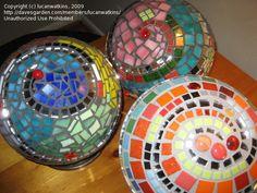 Garden ideas -mosaic art on recycled bowling balls