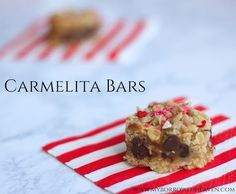 Carmelita Bars: easy dessert recipe filled with caramel and chocolate, perfect for Valentine's Day!