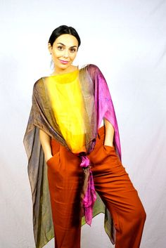 Long Silk PonchoColorful PonchoOversized PonchoOne Size by KiZoy Sari, Fashion Outfits, Trending Outfits, Color, Clothes, Etsy, Vintage, Women, Saree