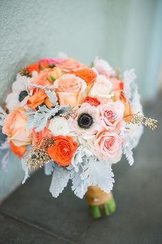 Anemone + Rose Bouquet - Mint, Peach, Pink, Orange | On SMP: http://stylemepretty.com/2013/07/12/austin-wedding-from-sharon-nicole-photography |  Sharon Nicole Photography