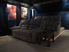 """Home Theater for Basement. Doesn't this just have """"Ingram"""" written all over it? Yeah, this is so us. but we'd have a wet bar."""