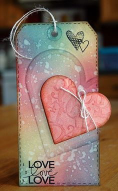 Dry Embossing with Wafer Thin Dies - finished tag by Sara Case Strickland. Love her weekly Tuesday Techniques series! Love Valentines, Valentine Day Cards, Envelopes, Handmade Gift Tags, Paper Tags, Artist Trading Cards, Card Tags, Card Kit, Christmas Tag