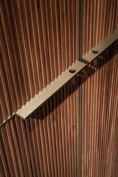 Textured wardrobe doors - Walnut wardrobe custom SERYASSE by Lema Open Wardrobe, Wardrobe Doors, Built In Wardrobe, Closet Doors, Armoire Design, Shutter Designs, Walnut Doors, Joinery Details, Modern Closet