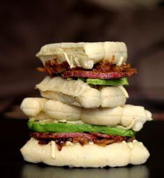 savoury waffle sandwich with caramelized onions, bacon, potato and avocado