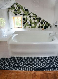 the cutest attic bathroom ever with Pratt & Larson mosaic tile