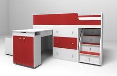 Кровать чердак Малыш Удобный, компактный и функциональный комплект детской мебели, включающий кровать Малыш на «чердаке», комод, выдвижной стол, лестницу с выдвижными ящиками и отделение для игрушек на колёсах, который легко убирается под кровать. Удобное спальное место наверху со специальным ограждением для безопасности сделает сон комфортным. При желании можно нарастить бортик.