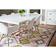 Fun rug and love the simple white furniture! Painted Desert Rug | Lulu and Georgia