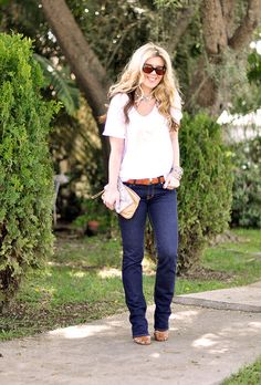 The fit of.. everything  dark jeans and a tshirt- rhinestone and saddle tan by ...love Maegan, via Flickr