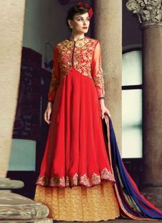 Sightly Red And Cream Net Stone Work Pure Georgette  Party Wear Anarkali Suit http://www.angelnx.com/Salwar-Kameez/Anarkali-Suits