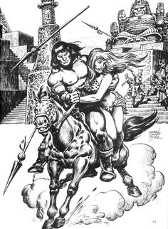 87 - The Savage Sword Of Conan composed by Roy Thomas, Robert E. Howard, Gil Kane of the Action, Adventure, Family genres. Fantasy Heroes, Fantasy Art, Conan The Barbarian Comic, Space Adventure Cobra, Roman, Warrior Drawing, Conan Comics, Dungeons And Dragons Characters, Sword And Sorcery
