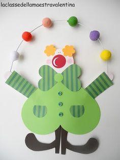 La classe della maestra Valentina: pagliacci - Do It Darling Clown Crafts, Circus Crafts, Carnival Crafts, Circus Art, Circus Theme, Diy And Crafts, Crafts For Kids, Arts And Crafts, Paper Crafts