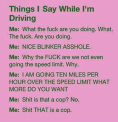 My common phrase while driving... Nice blinker asshole!!!