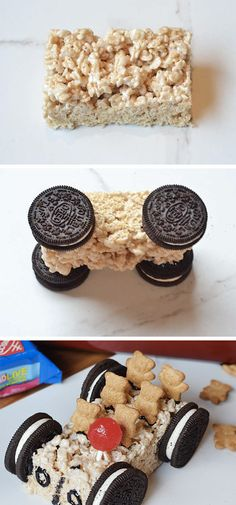 on in to dessert fun with this recipe for a family car shaped Rice Krispies Ride on in to dessert fun with this recipe for a family car shaped Rice Krispies. -Ride on in to dessert fun with this recipe for a family car shaped Rice Krispies. Potluck Desserts, Keto Desserts, Dessert Dishes, No Bake Desserts, Party Desserts, Baking Desserts, Delicious Desserts, Kreative Snacks, Kreative Desserts