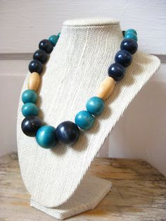 Navy and Teal Wooden Bead Necklace