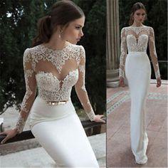 Fall Mermaid Wedding Dresses Long Sleeve Berta Lace Bridal Gowns Custom