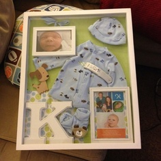 The baby boy going home outfit shadow box I made. I'm really proud of it! :)