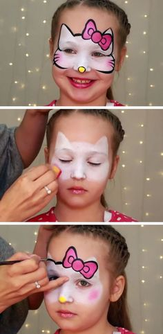'Hello Kitty' Makeup for Kids | DIY Summer Activities for Kids Art | Simple Face Painting Ideas for Kids