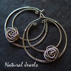 Lush!    Sterling Silver Hoops Silver Roses