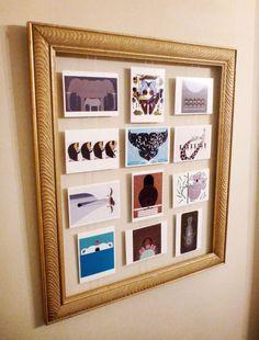 DIY postcard display by proteamundi Postcard Display, Diy Postcard, Framed Postcards, Postcard Wall, Vintage Postcards, Postcard Holder, Old Frames, My New Room, Diy Art