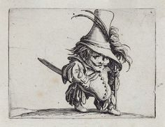L'homme au ventre tombant et au chapeau très élevé (Man with a drooping belly and a very tall hat) (from the series, Gobbi)  about 1621  Jacques Callot, French