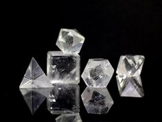 Sacred Geometry - The Platonic Solids in Quartz (somebody wants to buy me this for my birthday...)