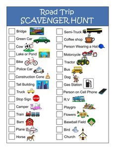 Remarkable image pertaining to road trip scavenger hunt printable