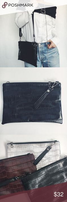 New! Black Crocodile Vegan Leather Wristlet Bag NWT Boutique Item. Such a classic versatile piece!! This is a black vegan leather handbag with silver finishings. This cutie features a PU fabric that is a textured crocodile design, a zipper closure, versatile style (wristlet, shoulder bag, or cross-body option), adjustable shoulder strap, two non zip inside pockets, lining, and detachable shoulder & wristlet straps. Measurements: 11.5 x 8 inches. Material: Vegan Leather, Alloy. Also comes in…
