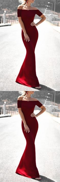 Sexy Burgundy Prom Dress, Long Party Dress, Mermaid Evening Dress 51540#RosyProm #fashionpromdress #charmingpromgown #longpartydress #simpleeveningdress #promdress #offshoulderpromgown