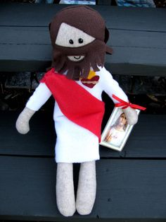 This felt and fleece doll is about 17 tall and makes the perfect companion for the little Catholic.    Jesus offers soft hugs and prayers for