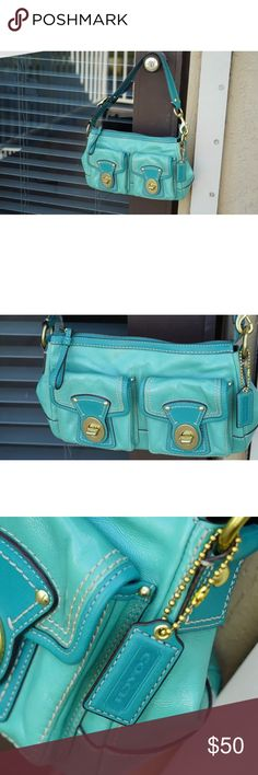 Rare Authentic Turquoise Coach Shoulder/Hand Bag Preowned, but in great condition. Super vintage & a class Coach item. Coach Bags Shoulder Bags