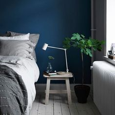 Makuuhuoneessa on pysyvästi sininen hetki #ihanaaollakotona #NORRÅKER-jakkara #RIGGAD-työvalaisin Small Room Decor, Small Rooms, Cozy Bedroom, Master Bedroom, Bedroom Ideas, Ikea, Living Spaces, Living Room, Elle Decor