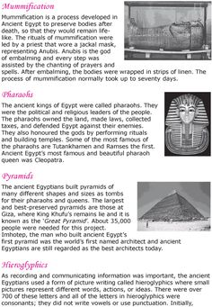 Grade 6 Reading Lesson 21 Nonfiction - Ancient Egypt (2)