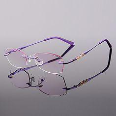 [lentilles] libres rectangle métallique verres cristal cerclées de lecture des femmes – EUR € 21.81