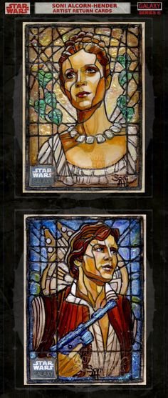 Soni Alcorn-Hender Artist Return Cards - Star Wars - stained glass style - Leia and Hans Solo