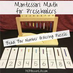 Montessori Math for Preschoolers — Bead Bar Number Ordering Puzzle http://momtessorilife.com/2017/09/08/montessori-math-for-preschoolers-bead-bar-number-ordering-puzzle/?utm_campaign=crowdfire&utm_content=crowdfire&utm_medium=social&utm_source=pinterest