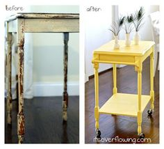 Easy and Useful DIY Project -- Turn a Curbside Table into a Kitchen Cart @ItsOverflowing.com.com.com