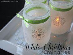 White Christmas Mason Jar Luminaries - Super easy, pretty (and cheap!) mason jar luminaries for Christmas. I used stencils, glass paint, Mod Podge & salt to mak…