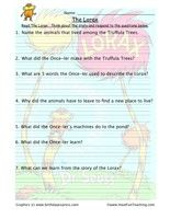 The Lorax Reading Comprehension Worksheet - Have Fun Teaching