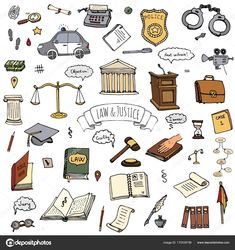 Hand drawn doodle Law and Justice icons set Vector illustration sketchy symbols collection Cartoon law concept elements suitable for info graphics, websites and print media Color icon Court Police car Illustration , Law Icon, Law Office Decor, Law And Justice, Halloween Doodle, Lawyer Gifts, Law School, Cute Stickers, Icon Set, Doodle Art