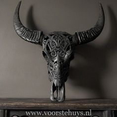 Carved Skull Black, Taxidermy, Homedecor, Accessories Taxidermy, Moose Art, Lion Sculpture, Skull, Carving, Statue, Vintage, Black, Accessories